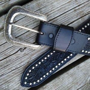Vintage Bootmaster Studded Tooled Leather Belt 38